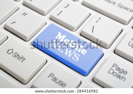 Blue mobile news key on keyboard - stock photo