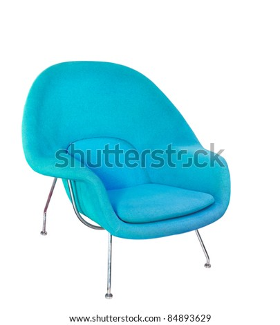 Blue modern armchair  isolated on white - stock photo