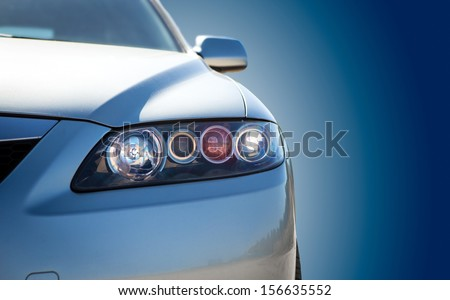 blue modern car closeup - stock photo