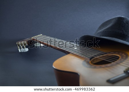 Blue Mood Guitar and Hat