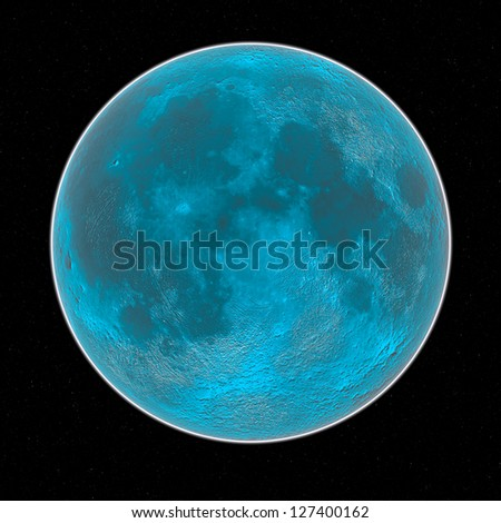 blue moon in the space - stock photo