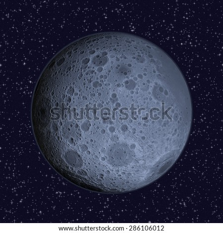 Blue Moon on starry sky background - 3D illustration of the Lunar far side (hemisphere of the Moon that always faces away from Earth) includes elements furnished by NASA.  - stock photo