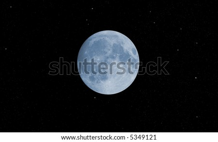 blue moon with stars against black background - stock photo
