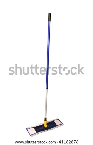 blue mop under the white background - stock photo