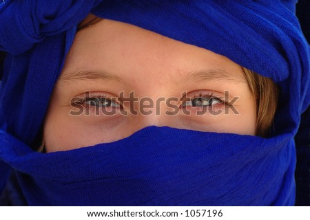 Blue Moroccan turban - stock photo