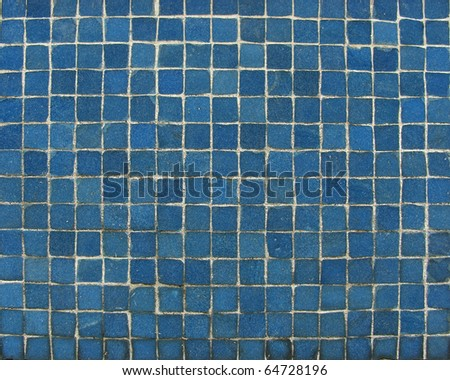 blue mosaic tiles on a wall - stock photo