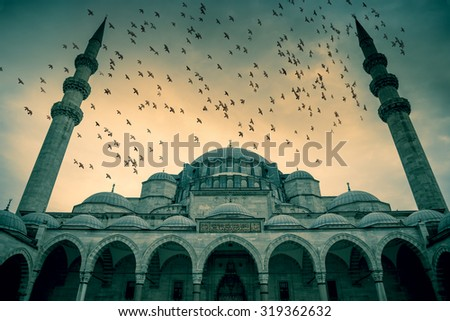 Blue Mosque against dramatic sky with birds and clouds, Istanbul, Turkey - stock photo