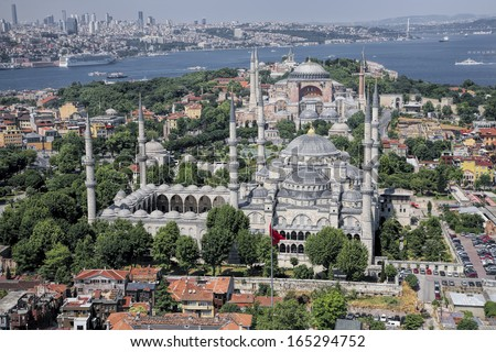 Blue Mosque and Hagia Sophia - stock photo