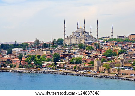 Blue Mosque and Istanbul, view from Bosporus strait - stock photo