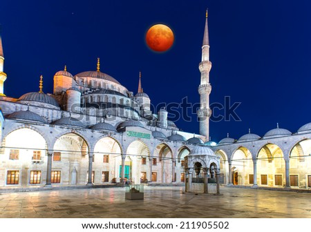 Blue Mosque and Lunar eclipse, Istanbul, Turkey  - stock photo