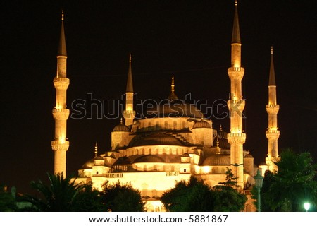 Blue Mosque by Night - stock photo