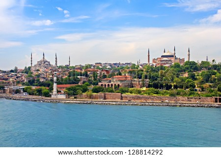Blue Mosque, Hagia Sophia and Istanbul - view from Bosporus strait - stock photo