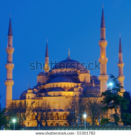 Blue mosque illuminated at night in Istanbul,Turkey,HDR image - stock photo