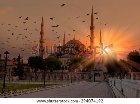 Blue mosque in glorius sunset, istanbul - stock photo