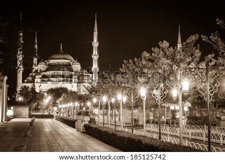Blue Mosque in Istanbul, and the alley with lanterns in Sultanahmet Square at night - stock photo