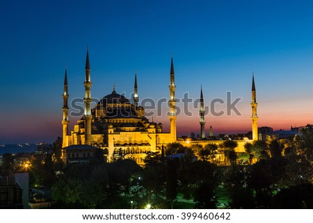 Blue Mosque in Istanbul in a summer night, Turkey - stock photo
