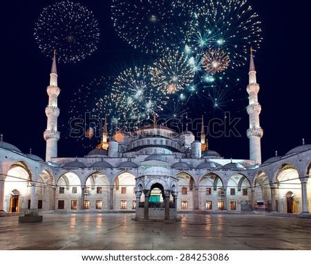 Blue Mosque (Sultanahmet Camii) at dusk, Istanbul, Turkey - stock photo