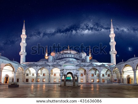 "Blue Mosque (Sultanahmet Camii) at dusk, Istanbul, Turkey ""Elements of this image furnished by NASA"" - stock photo"