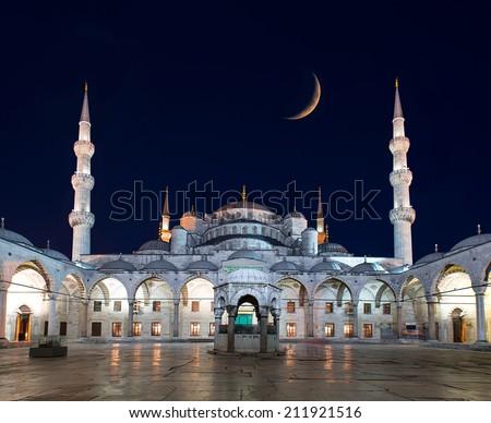 Blue Mosque (Sultanahmet Camii) at night, Istanbul, Turkey  - stock photo