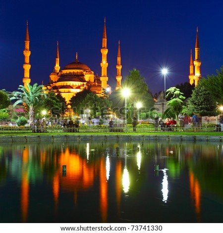 Blue Mosque with reflection - Istanbul - stock photo