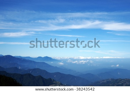 blue mountain and sky