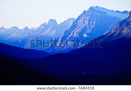 Blue mountain in dusk - stock photo