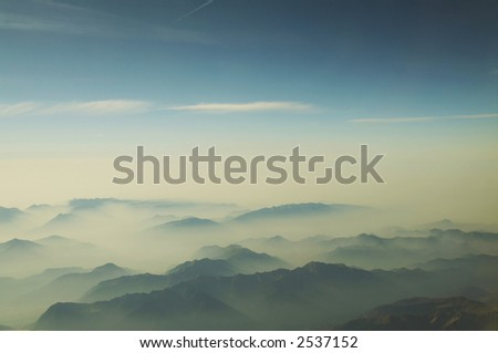 Blue mountain silhouette in Alp - stock photo