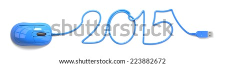Blue mouse and cable in the shape of 2015 - stock photo