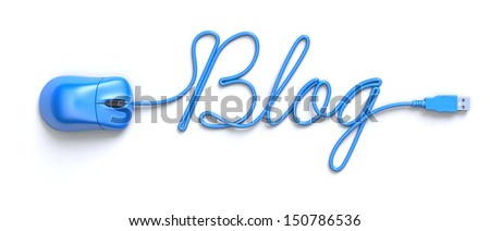 Blue mouse and cable in the shape of word-blog - stock photo
