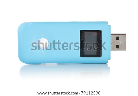 Blue MP3 player isolated on white background - stock photo