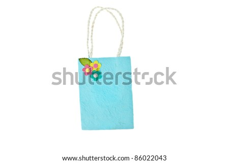 Blue mulberry paper bag isolated on white background - stock photo