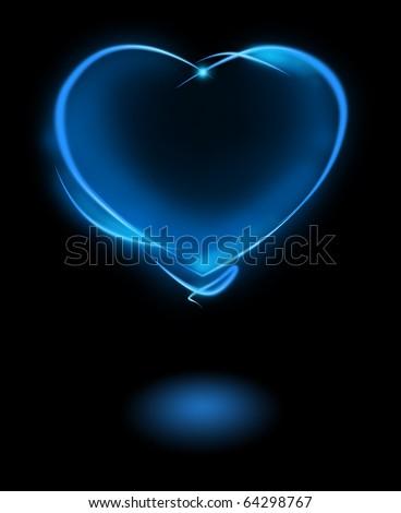 Blue mystic heart - stock photo