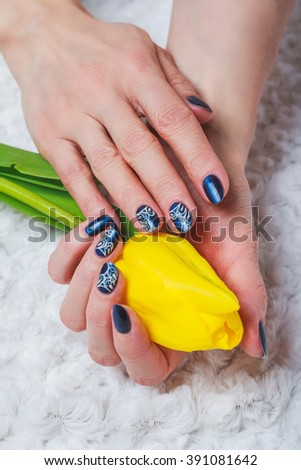 Blue Nail Art White Lace On Stock Photo Royalty Free 391081642