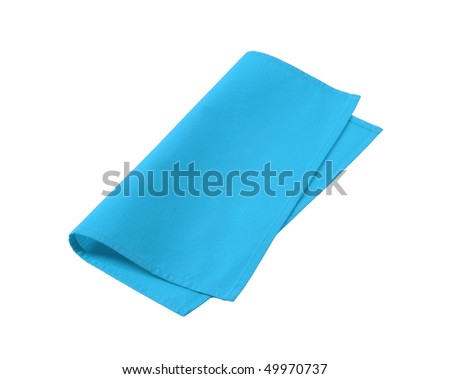 blue napkin - stock photo