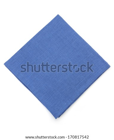 blue napkin isolated on white background - stock photo