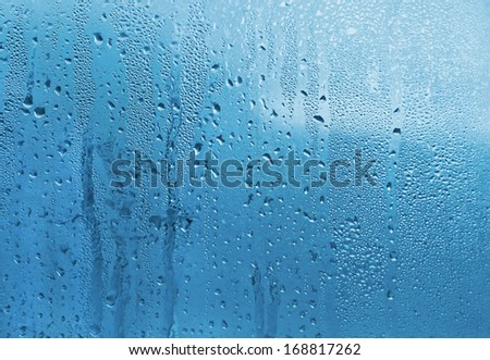 Blue natural background with water drops on glass