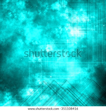 blue nebula space technology  abstract background - stock photo