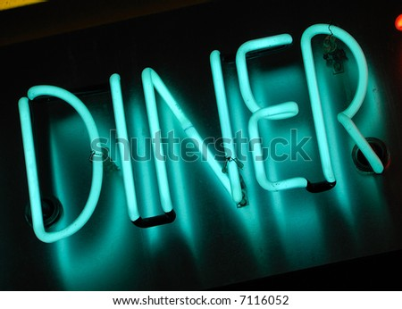 blue neon sign at night - diner - stock photo
