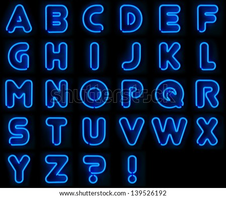 Blue neon signs with all letters of the alphabet - stock photo
