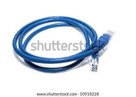 Blue network cable - stock photo