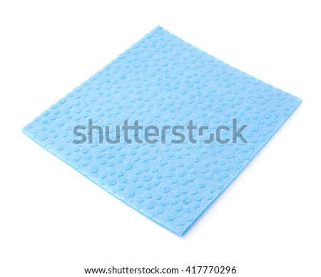 Blue new kitchen cleaning napkin rag over white isolated background - stock photo