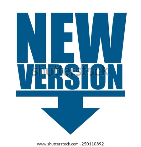 blue new version icon, tag, label, sign - stock photo