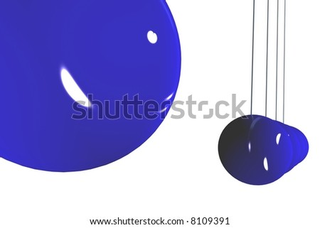 Blue Newton's cradle isolated in front view. Render