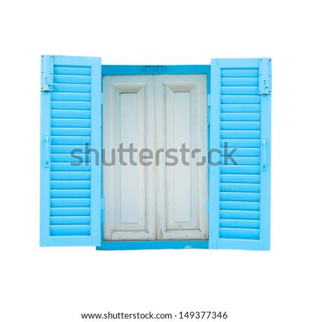 blue nice lovely window in white wallpaper - stock photo