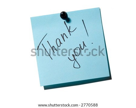Blue note paper with inscription thank you on the white board - stock photo