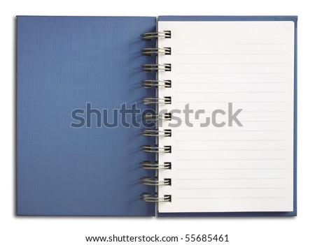Blue Notebook vertical single white page Isolated - stock photo