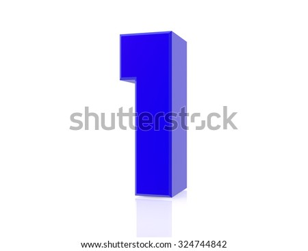 blue number 1 on white background 3d rendering