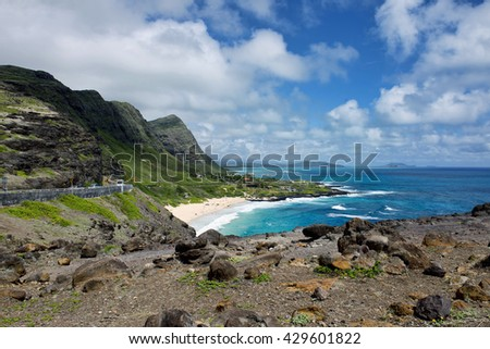 Blue Oahu, Hawaii with lots of room for your type. - stock photo