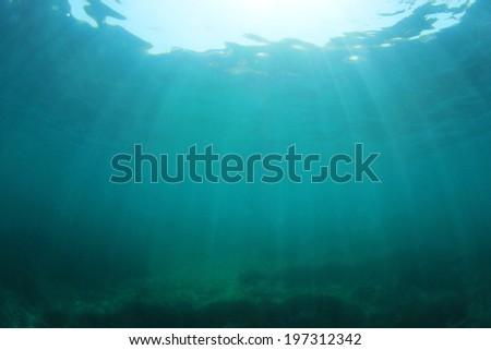 Blue ocean underwater background photo - stock photo