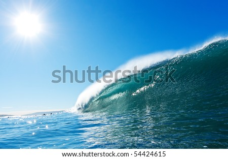 Blue Ocean Wave, Sunny Sky Epic Surfing - stock photo